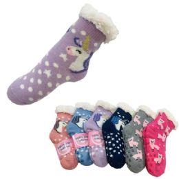 36 Bulk Child's Plush Lined Non Slip Sherpa Socks Unicorns And Llamas