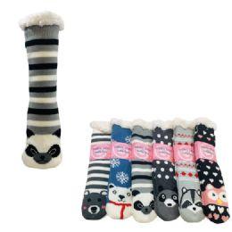 36 Bulk Plush Lined Non Slip Sherpa Socks Critter Faces