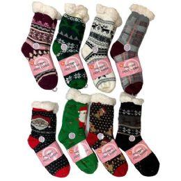 36 Bulk Plush-Lined Non Slip Sherpa Socks Holiday Assortment