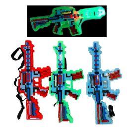 72 Bulk Light And Sound Pixelated Toy Gun