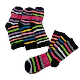 60 Bulk 3 Pair Ladies Crew Socks Multi Color Stripe