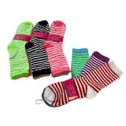 60 Bulk 3 Pair Ladies Crew Socks Two Color Thin Stripe