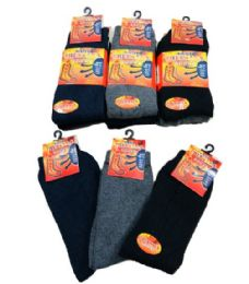 60 Bulk Mens Thermal Crew Socks Black Grey Navy