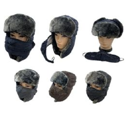 24 Bulk Aviator Hat with Fur Trim and Detachable Mask
