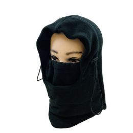 36 Bulk Extra Warm Black Fleece Hooded Face Mask