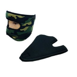 36 Bulk Extra Warm Fleece Wrap Around Face Mask Black Camo