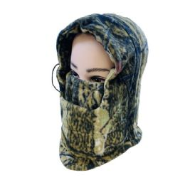 48 Bulk Extra Warm Camo Fleece Hooded Face Mask