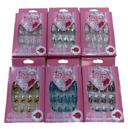 72 Bulk Fashion Nails Miss Lucy Print Pink Package