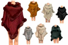 12 Bulk Solid Color Faux Fur Poncho Assorted