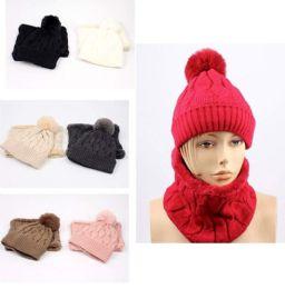 12 Bulk Lady Winter Pompom Hat with Neck Cover Set