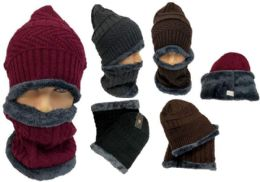24 Bulk Man Plush lining Winter Beanie Hat And Neck Cover Set