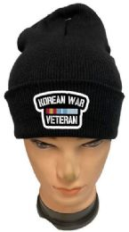 36 Bulk Korean War Veteran Black Color Winter Beanie