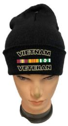 36 Bulk Vietnam Veteran Black Color Winter Beanie