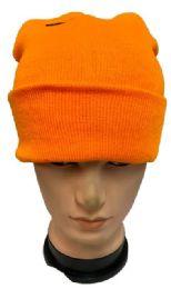48 Bulk Orange Color Winter Beanie