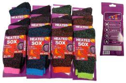 48 Bulk Lady Heated Socks Assorted Colors