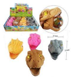 72 Bulk Mesh Squish Ball With Water Beads Dinosaur Head