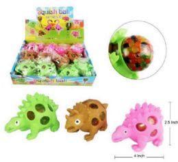 72 Bulk Mesh Squish Ball With Water Beads Dinosaur