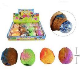 72 Bulk Mesh Squish Ball With Water Beads Dinosaur Egg
