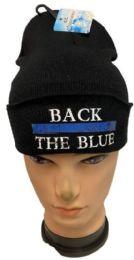 36 Bulk Back the Blue Black Winter Beanie