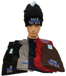 36 Bulk Back The Blue Winter Beanie Mix Color