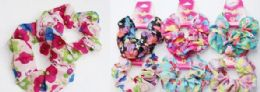 72 Bulk Assorted Color Flower Print Scrunchies