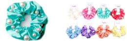 72 Bulk Solid Color Scrunchies With Beads