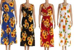 96 Bulk Sun Flower Scoop Neck Long Dresses