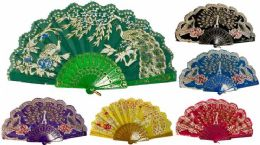 96 Bulk Hand Fan Peacock With Lace