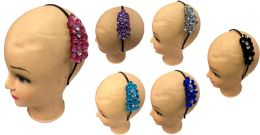 96 Bulk Crystal Flower Hair Band