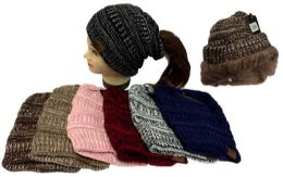 24 Bulk Knitted Pony Tail Beanie Plush Lining Winter Hat