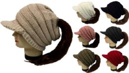 24 Bulk Knitted Whinter Pony Tail Hat Plush Lining Winter Hat