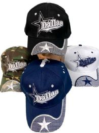 36 Bulk Adjustable Baseball Hat Dallas With Star Assorted Color