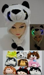 24 Bulk Plush Animal Hats Assorted