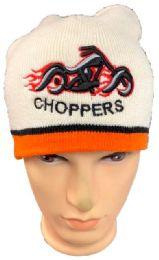 48 Bulk Choppers Winter Beanie Hat In White