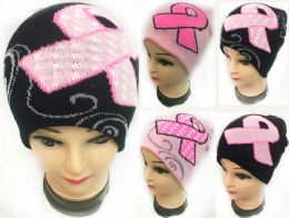 48 Bulk Winter Knitted Beanie Pink Ribbon Breast Cancer Assorted