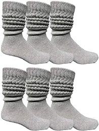 6 Bulk Yacht & Smith Men's Cotton Extra Heavy Slouch Socks, Thick Boot Sock for mens