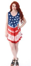 12 Bulk Indian Rayon Top Tie Dye American Flag Design Assorted