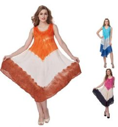 12 Bulk Rayon Acid Wash Dye Umbrella Dresses