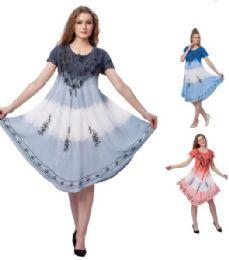12 Bulk Ombre Dye Rayon Plus Size Tricolor Dresses