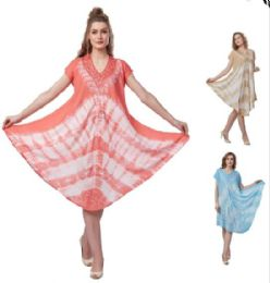 12 Bulk Tie Dye Plus Size Rayon Umbrella Dresses