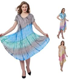 12 Bulk Plus Size Pigment Dye Rayon Umbrella Dresses