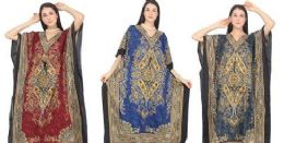 12 Bulk Long Kaftan Assorted Colors