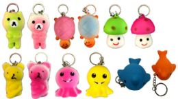 96 Bulk Animal Shape Squishy Keychain