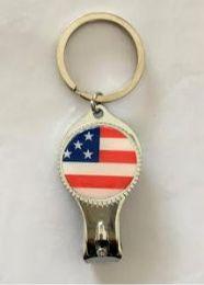 96 Bulk USA Flag Key chain With Nail Clipper