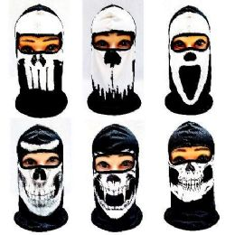 36 Bulk Black And White Skull Print Ninja Face Mask