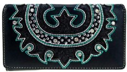 4 Bulk Montana West Embroidered Collection Secretary Style Wallet