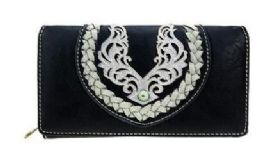 4 Bulk Montana West Embroidered Collection Wallet Black