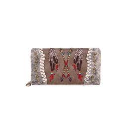 5 Bulk Montana West Aztec Collection Secretary Style Wallet Grey