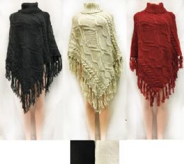 12 Bulk Cable Knitted Turtle Neck Ponchos Assorted