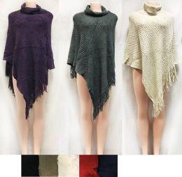12 Bulk Crisscross Knitted Sweater Ponchos With Fringe